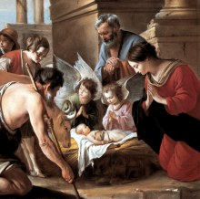 Shepherds bow before the Christ Child