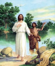 Baptism of Jesus Christ by John in the River Jordan